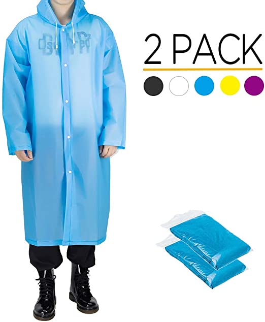 Memoryee 2 Pack Sports Rain Coats EVA Reutilizable Rain Coat Jacket con Capucha Unisex Impermeable Poncho de Lluvia/Blue/One Size: Amazon.es: Ropa y accesorios