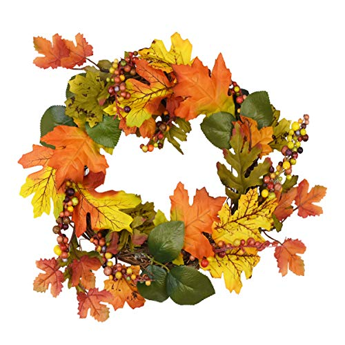 Yinhua Artificial Maple Leaf Wreath Autumn Maple Leaf Wreath with Fruits for Halloween and Thanksgiving Home Indoor or Outdoor Arrangement -