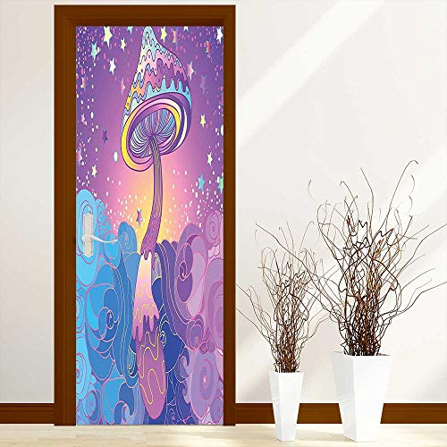 Renovation Waterproof Door Stickers Mushrooms Psychedelic Hallucination Vibrant 60s Style Hippie Purple Light Blue Yellow Made from Tear-Proof, Washable, W38.5 x H79 inch -