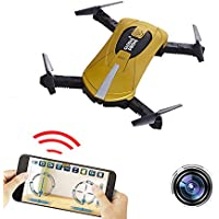 FPV RC Drone with HD 2MP Wifi Camera ,Mini Pocket Drone with 2.4GHz 4CH 6-Axis Gyro, App WiFi Phone Control RC Quadcopter with Altitude Hold, Gravity Sensor and Headless Mode