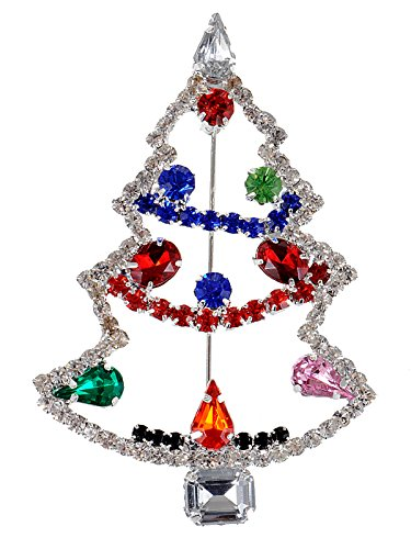 (Alilang Multi-colored Crystal Rhinestone Holiday Christmas Tree Jewel Pin Brooch)