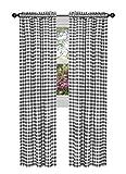 GoodGram Buffalo Check Plaid Gingham Custom Fit Window Curtain Treatments - Assorted Colors & Sizes (Black