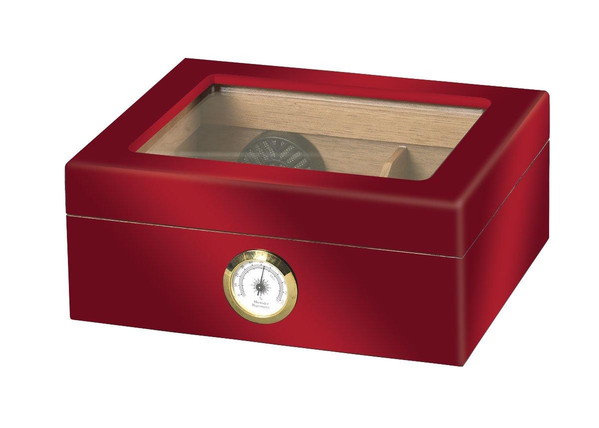 Quality Importers ガラストップ葉巻き貯蔵箱 レッド HUM-25HYG B01ACY4V7G レッド レッド