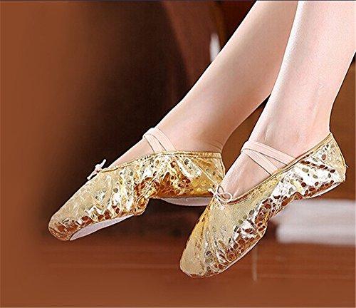Staychicfashion Polka Dot Leder Ballett Bauch Hausschuhe Tanzschuhe Split-Sole Gymnastik Yoga Schuhe für Frauen Silber