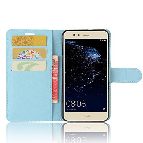 Lusee® PU Caso de cuero sintético Funda para Huawei P10 Lite 5.2 Pulgada Cubierta con funda de silicona violeta azul