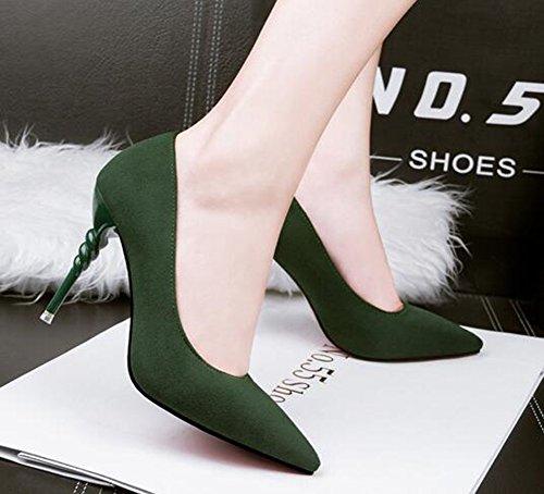 Chfso Donna Elegante Stiletto Solido Scamosciato A Punta Basso Slip On Tall Tacco Alto Pompe Pompe Lavoro Verde