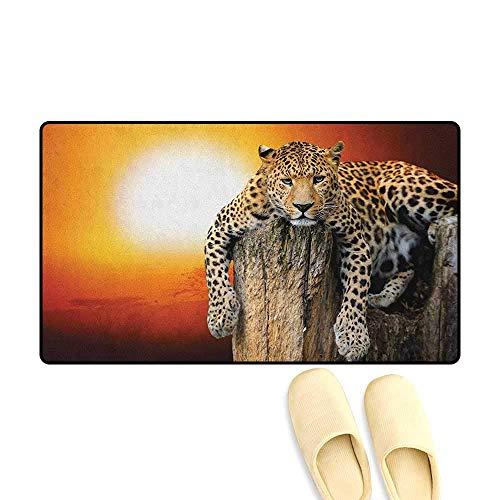 YGUII Safari Door Mats for Inside Non Slip Backing Leopard Sitting on Dry Tree at Sunset Danger in The Air Big Cat with Spotted Form Size:16X23.6in (40x60cm) Orange ()