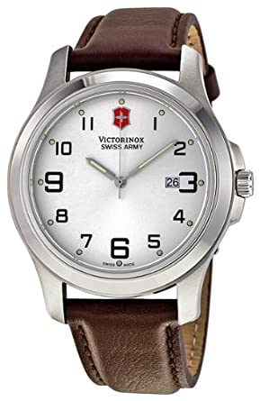 Victorinox Swiss Army Mens Quartz Stainless Steel and Leather Casual Watch, Color:Brown (