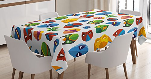 Superhero Tablecloth by Ambesonne, Legendary Cartoon Character Masks Flash Batman Spider-Man Comic Costume Print, Dining Room Kitchen Rectangular Table Cover, 60 W X 84 L Inches, Multicolor