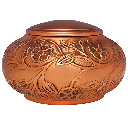 Copper Funeral Urn by Liliane Memorials - Cremation Urn for Human Ashes - Hand Made in Brass - Suitable for Cemetery Burial or Niche - Large Size fits remains of Adults up to 130 lbs