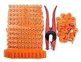 WGCD 100pcs Orange 1-100 Number Plastic Livestock Cow Cattle Ear Tag Animal Tag and 1pcs Ear Tag Applicator