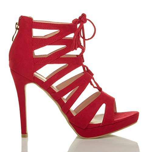 Ajvani High up Size Red Suede Sandals Lace Ladies Ghillie Heel Women qgwWUOHqA