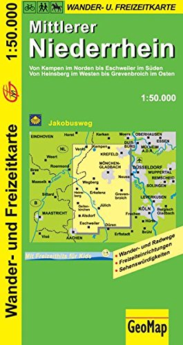 Mittlerer Niederrhein Wanderkarte 1 : 50 000: Freizeitkarte mit Wander- und Radwegen (Geo Map)