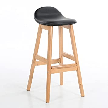 HETAO Creative High Stool Tall Stool Solid Wood Have a backrest Linen Cushion Can be Assembled