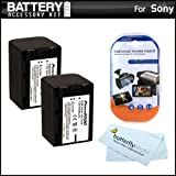 2 Pack Battery Kit For Sony HDR-CX380, HDR-CX380/B HD Camcorder Includes 2 Extended Replacement (2300Mah) NP-FV70 Batteries + LCD Screen Protectors + MicroFiber Cleaning Cloth