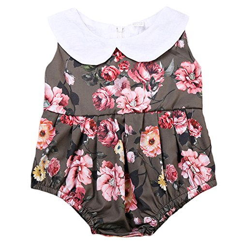 ONE'S Infant Toddler Baby Girls Ruffle Collar Flower Printing Bodysuit Bubble Romper Outfits (2-3 Years, Coffee) Ruffle Collar Suit