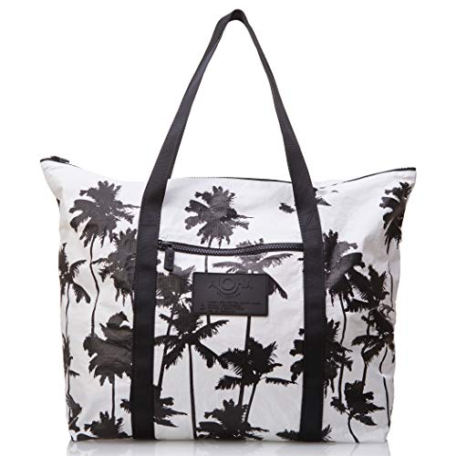 Small Collection Tote - ALOHA Collection Coco Palms Zipper Tote in Black