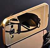 Heartly Premium Luxury Metal Bumper Frame With Acrylic Mirror Back Case Cover For Samsung Galaxy E7 SM-E700F - Hot Gold