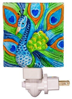 Tropical Stained Glass - Peacock Art Glass Night Light