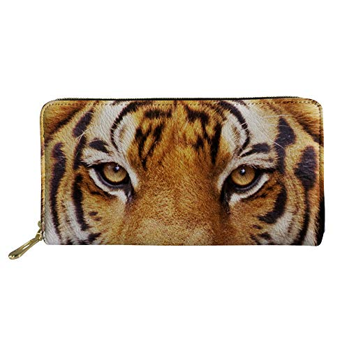 Tiger Clutch (Showudesigns Long Wallet PU Leather Clutch Men Women Tiger Credit Cards Holder Purse)