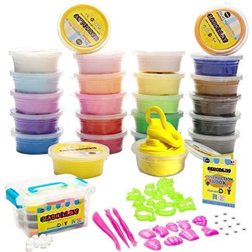 24 Colorful Air Dry Clay Kit for Slime with Resealable Box,Great for Kids