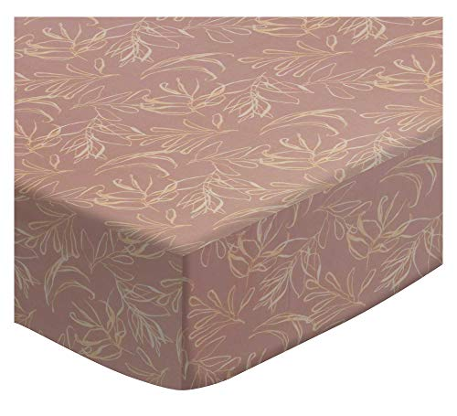 SheetWorld Extra Deep Fitted Portable Mini Crib Sheet - Mauve Leaves - Made in USA by SHEETWORLD.COM