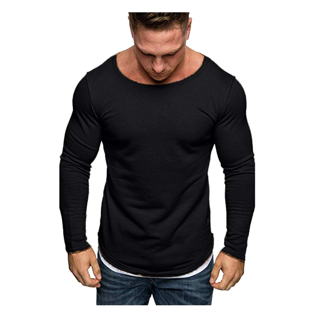 Leaf2you Mens Casual Long Sleeve Sweatshirts Tops Solid Color Round Neck T-Shirt Spring Simple Tee Shirts Loose Fit Blouse