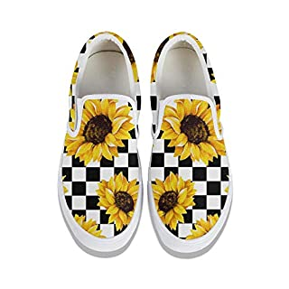 Cute Checkerboard Sunflowers Sneakers Slip-On Canvas Skate Shoes for Women Comfortable White