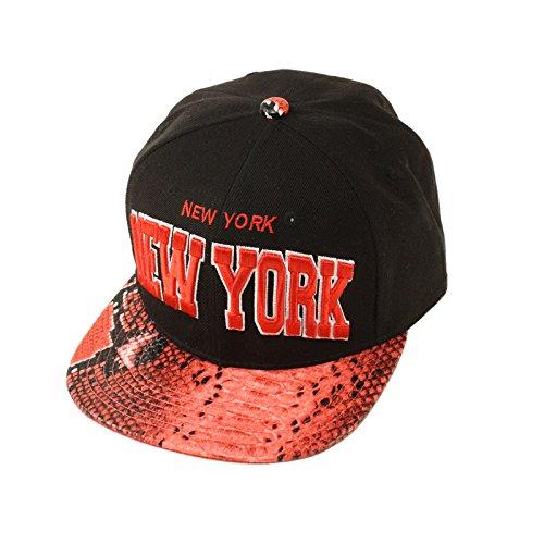 Men's New York Faux Snake Skin Snapback Adjustable Baseball Cap Hat Black Red (Snakeskin Baseball)