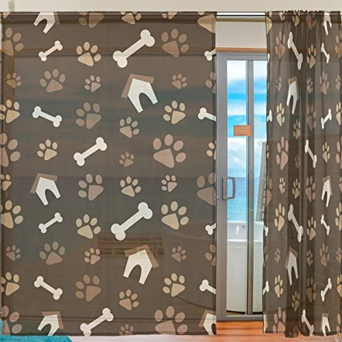 SEULIFE Window Sheer Curtain, Animal Dog Paw Prints Bones House Voile Curtain Drapes for Door Kitchen Living Room Bedroom 55×84 inches 2 Panels