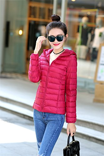 Jacket Peach Packble Women's Coat Down Ultralight Quibine Hooded Down Quilted SfnwpWUWq