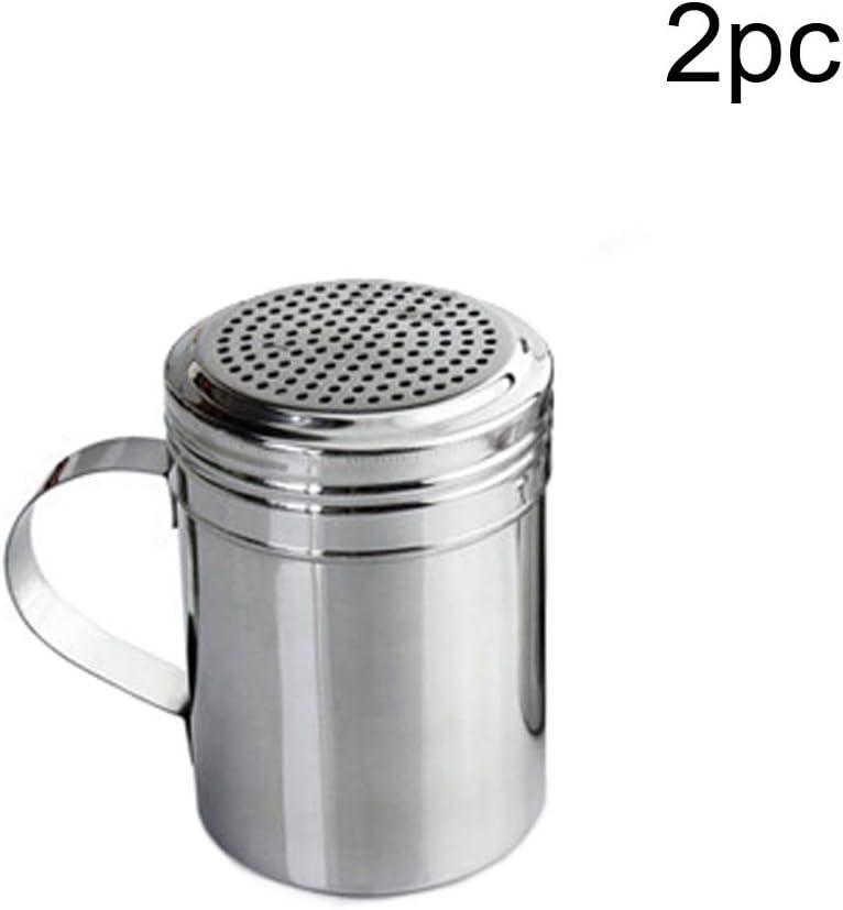 1pc S1Pc Botellas de especias 1//2 piezas Dredge Shaker Cocina Herramienta Sugar Barbacoa Polvo Pimienta Salero Dispensador de acero inoxidable con mango Vers/átil large
