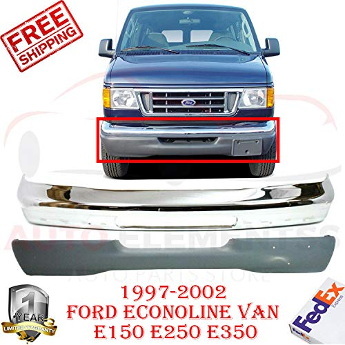 New Front Bumper Chrome For 1997-2002 Ford Econoline Van E-150 E-250 E-350 Base Standard/Extended Cargo Van Lower Valance Panel Textured Direct Replacement Set of 2 FO1002348 FO1095188