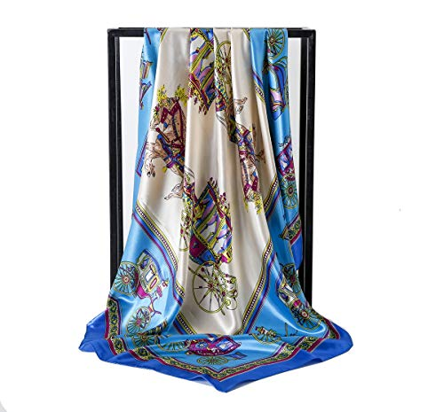 (Women's Silk Scarf Belt Pattern Large Square Satin Headscarf Headdress 35