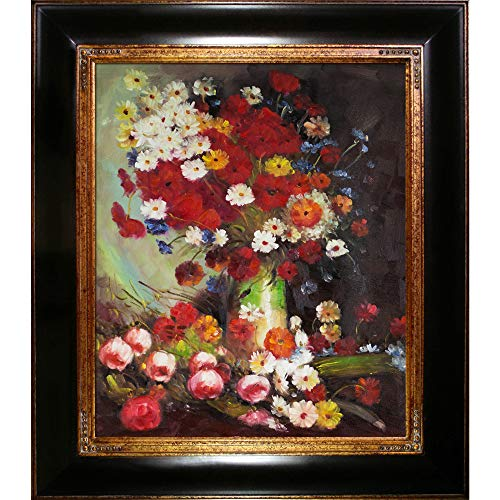 (overstockArt Vase with Poppies Cornflowers Peonies and Chrysanthemums Framed Oil Reproduction of an Original Painting by Vincent Van Gogh)