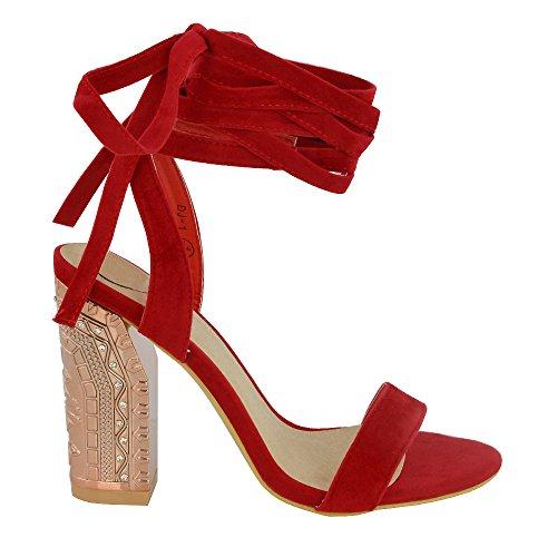 ESSEX GLAM Gamuza Sintética Sandalias de tacón cuadrado medio con tira al tobillo y cordones Rojo Gamuza Sintética