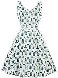 Ayli Women's V-Neck Sleeveless Cactus Plants 50s Retro Swing Cocktail Dress, US-8/Tag-M/02w103