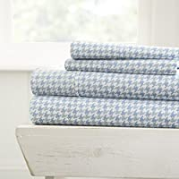 Hotel Collection 4 Piece Houndstooth Patterned Home Collection Premium Ultra Soft Bed Sheet Set 4, Queen, Light Blue