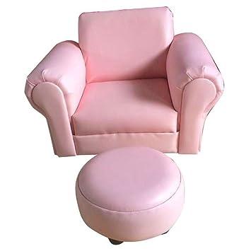 Children Rocking Armchair Footstool Luxury Faux Leather Furniture Bubblegum  Pink
