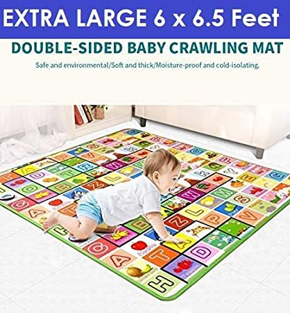 Zemic Double Sided Baby Mat Waterproof ((Multicolour; Large Size 6.5 X 6 Feet))