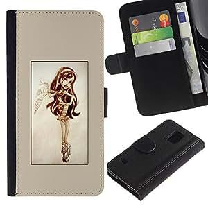 KLONGSHOP // Tirón de la caja Cartera de cuero con ranuras para tarjetas - Pin Up Lindo - Samsung Galaxy S5 V SM-G900 //