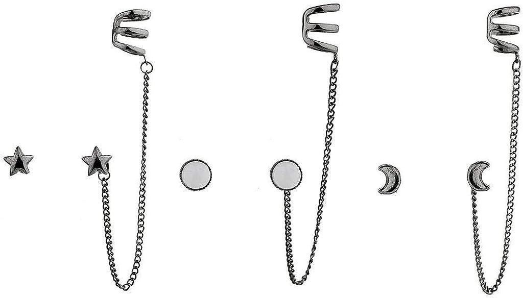 3pc Lux Accessories Hematite Boho Celestial Ear Cuff Multi Earring Set