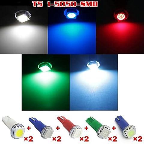 Partsam - (Pack of 10 Bulbs) T5 74 LED Bulbs 5050-SMD Red/Blue/Green/Ice Blue/White Gauge Cluster Instrument Panel Lights (Custom Instrument Cluster)