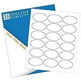 Online Labels - 2.5'' x 1.5'' Oval Labels - Pack of 1,800 Labels, 100 Sheets - Inkjet/Laser Printer