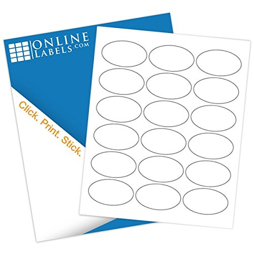 "2.5"" x 1.5"" Oval Labels - Pack of 1,800 Labels, 100 Sheets - Inkjet/Laser Printer - Online Labels"