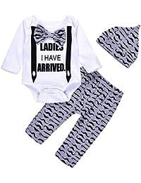 3Pcs Cute Boys Hipster Bowtie Strap Long Sleeve Bodysuit...