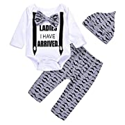 3Pcs Cute Boys Hipster Bowtie Strap Long Sleeve Bodysuit +Moustache Pants+Hat Outfits Set 70(0-3M, White)