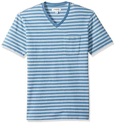 Goodthreads Men's Short-Sleeve Indigo V-Neck Pocket T-Shirt, Light Triple Stripe, Medium ()