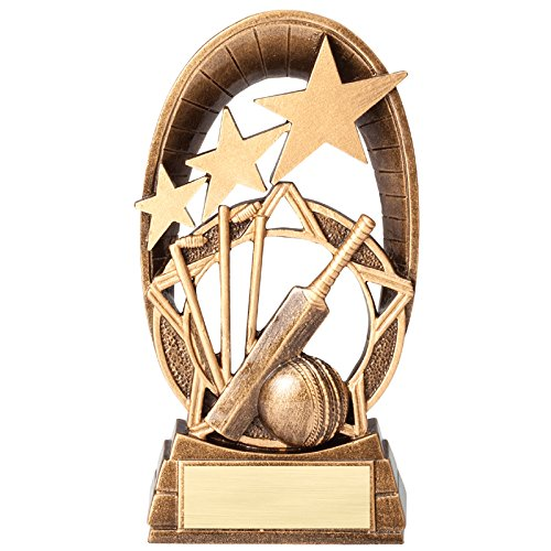 Resin Cricket (Customizable 6-1/2 Inch Antique Gold Finish Resin Cricket Bat with 3 Stars Trophy, Includes Personalization)
