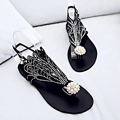 hunpta Vitage Women Rhinestone Flat Heel Anti Skidding Beach Shoes Rome Sandals Slipper Black aZdDrpzVu